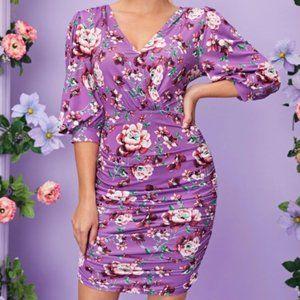 Ruched Floral Print Spring Summer dress